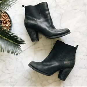 Lucky Brand Black Leather Heeled Ankle Boots